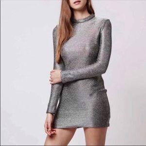 Topshop metallic silver chainmail mini dress